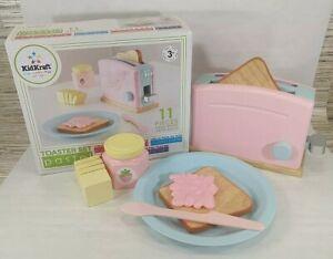 Kidkraft Kids Pink Pastel Wooden Toaster Set Pretend Play Kitchen Bread Toast