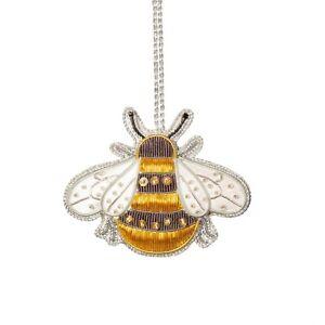 Bee Zari Embroidery decoration Handmade Christmas 8 x 6.5cm Hanging New