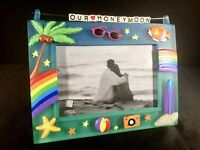 "Our Honeymoon Photo Picture Frame Colorful Beach Theme 8"" x 6""  New!"