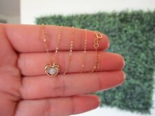 .02 Carat Dancing Diamond Heart Necklace 18K Yellow Gold DDN03 / N4 sep
