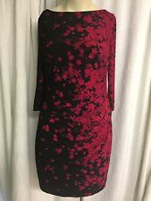 Chaps Crewneck Long Sleeved Red Black  Floral Fitted Dress Miss Size Xl