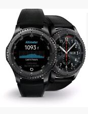 New Samsung Galaxy Gear S3 Frontier 46mm Watch Stainless Steel Case Black Band