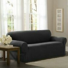 Maytex Stretch Pixel 1 Piece Sofa Furniture Cover Slipcover Charcoal