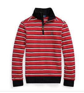 NWT Polo Ralph Lauren Boys Striped Quarter Zip Pullover Red Sizes S,M,L
