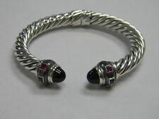 David Yurman Renaissance Sterling Silver Bracelet with Black Onyx and Ruby