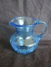 "Vintage Blue Mini Glass Pitcher 3.5"" Inches Tall - Circa 1970's Shattered Style"