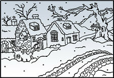 """Nellie Snellen Embossing Folder """"Snowy Cottages"""" Pif003 For Cards"""