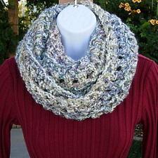 Handmade Crochet Infinity Scarf White Blue Purple, Thick Knit Circle Winter Cowl