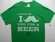 PARDON ME, I MUSTACHE YOU FOR A BEER - ST. PATRICK'S DAY - LARGE SIZE T SHIRT!