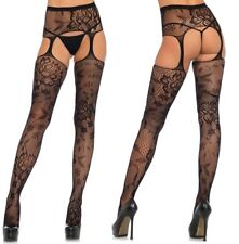 Floral Lace High Waisted Suspender Tights, Crotchless, Open Gusset, Garter