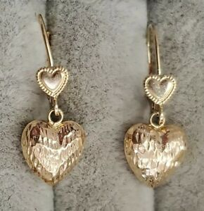 14KT signed JCM YELLOW GOLD DANGLE Puffy HEART EARRINGS BEAUTIFUL! 1.2 grams