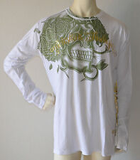 Christian Audigier Skull Flower L/S White (XXL) NEW