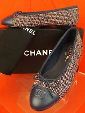 16P CHANEL MULTI COLOR TWEED NAVY LEATHER CAP TOE BOW CC LOGO FLATS 41
