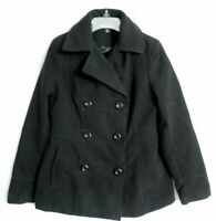 EUC GEORGE PEA COAT JACKET DOUBLE BREASTED LINED BLACK WOMENS SIZE SMALL 4- 6