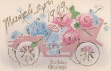 BIRTHDAY GREETINGS Postcard - 1909 * Automobile with Flowers * Made in Germany