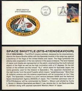 1992 Shuttle STS-47 Endeavour, Spacelab Japan, crew insignia cachet, pictorial