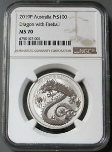 2019 P PLATINUM AUSTRALIA $100 DRAGON WITH FIREBALL NGC MINT STATE 70
