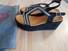 Damen Sandaletten Zehentrenner Riemchen Sandalen Glitzersteine braun Größe 40 41