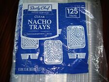 Daily Chef Clear Two Compartment Nacho Trays 125ct. 6.5in x 5in NEW