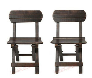 """New Indian ( Child""""s Set of 2 ) Folding Solid Wood Chair (Finish Color - Brown)"""