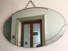 Vintage Frameless Bevelled Mirror Star Detail Oval 1950s Chain Scandi 65cm (m46)