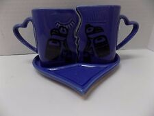 Inca/Aztec Motif Unique Shaped Kissing Coffee Cups w Heart Shaped Tray-Excellent