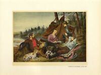 SPORTSMEN FISHERMEN DOG CAMPING IN THE WOODS TENT PINE TREES LAKESIDE DECORATIVE
