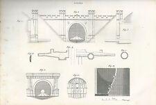 1849 TUNNEL Pomba Ed. acquaforte su rame gallerie trafori ingegneria civile