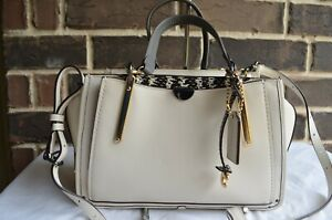 RARE NWT $550 COACH Dreamer Satchel Exotic Mixed Leather Chalk Snake Grey 31639