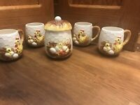 SEARS ROEBUCK 1976 JAPAN CHICKEN 4 coffee cup mugs Sugar Bowl CHICKS & EGG NEST