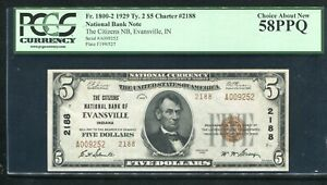 1929 $5 TYII CITIZENS NB OF EVANSVILLE, IN NATIONAL CURRENCY CH #2188 PCGS AU-58