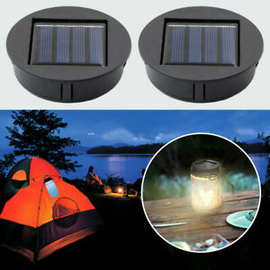 2 Pack Solar Lights Replacement Top With LED Bulbs Solar Panel Lantern Lid UK