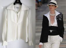 NWT 17C CUBA CHANEL IVORY RUNWAY BLOUSE TOP SHIRT 44