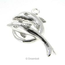1x Sterling Silver Dancing Dolphin Bead Toggle Clasp 16mm Heavy SC289W