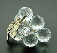 Crystal World Grape Cluster Silver Leaf Figurine New In Box