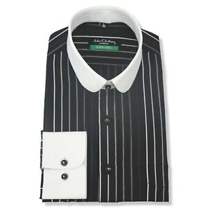 Mens Club collar Bankers shirt Black stripes Gent White collar Easy 2 Iron Penny