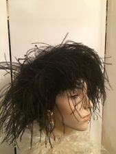 Vintage Art Deco Style Arlette New York Ostrich Marabou Feather Ladies Hat-Beret