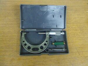 "Mitutoyo 103-217 Outside Micrometer, 2-3"" Range, .0001"" Graduation"