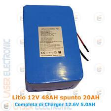 Batteria Ricaricabile a Litio 12V 48AH 48000mA spunto 20AH + Charger 12.6V 5AH