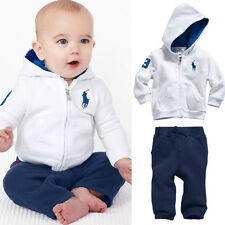 UK Cute Kids Toddler Baby Boys Sportswear Coat Sets Hoody+Pants Outfits Clothes