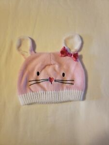 Girls Childrens Place 0/6 Months Pink Bunny Knitted Hat