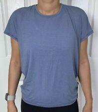 Lululemon Size 10 Get Set Short Sleeve Blue TEMP/WHT Tech Crew Run Yoga OpenBack