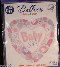 "CTI Baby Girl 18"" 'DuraFloat Heart Shape Foil Balloon"