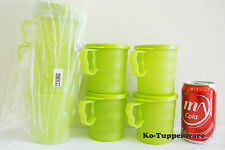 2 Sets Tupperware Blossom Mugs & Seals Green Casual Entertaining 350ml