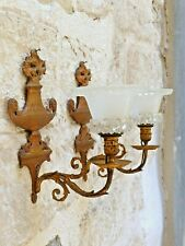 1880 Gorgeous French Gilded Bronze Crystal Sconces Flame Rare Wall Light 19TH