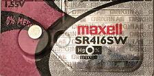 1 x Maxell SR416SW 337 Silver Oxide 1.55v Watch Batteries Aussie Stock FastPost