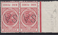 Stamps 9d deep lake thick postage long tom SA perf SG302 inverted watermark pair