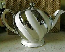 SADLER WHITE/SILVER STRIPE TEAPOT * VERY NICE *