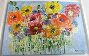 Original Abstract 'Les Fleur' Acrylic On Canvass Painting Patricia May Clark