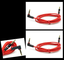 2X 3FT 3.5MM JACK AUX RIGHT ANGLE STEREO CABLE RED IPHONE 5 4S IPOD CLASSIC NANO